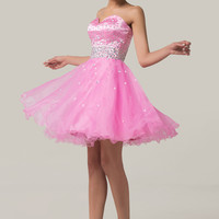 Strapless Shimmering Beads Flounce Homecoming Dress