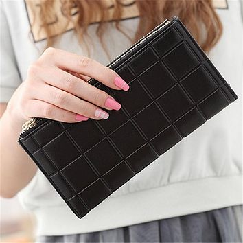 2017 Luxury Brand Square Embossed Double Zipper Long Leather Women Wallets Female Coin Purse Phone Bag Clutch For Credit Card
