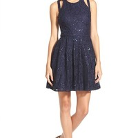 Junior Women's Morgan & Co. Sequin Lace Double Strap Skater Dress,