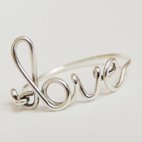 sterling silver love ring  love script ring Special by keoops8