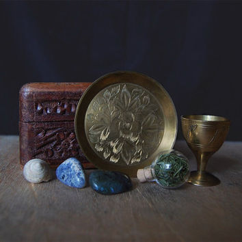 witch box • mini altar kit - vintage witch kit - pagan box - vintage brass goblet and brass plate - witchcraft kit
