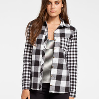 Polly & Esther Buffalo Mix Womens Flannel Shirt Black/White  In Sizes