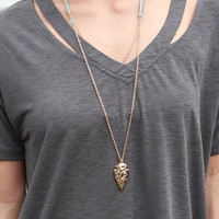 About Town Gold Textured Arrowhead Necklace
