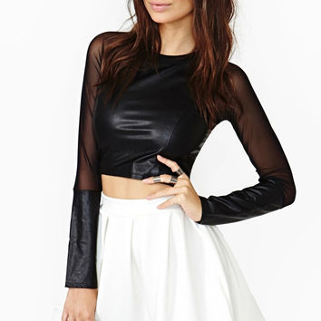 Black Long Sleeve Mesh Panel Crop Top