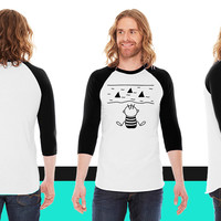The water with sharks American Apparel Unisex 3/4 Sleeve T-Shirt
