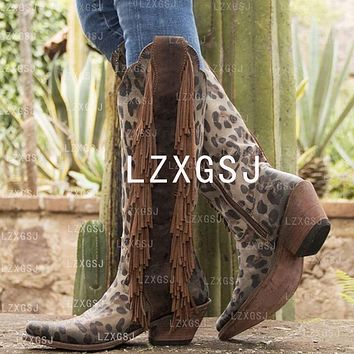 Women's Tassel Zipper Thick Heel Tall Riding Boots