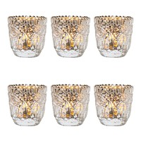 6 Pack | Faceted Vintage Mercury Glass Candle Holders (2.75-Inches, Lillian Design, Silver) - For Use with Tea Lights - For Home Decor, Parties and Wedding Decorations
