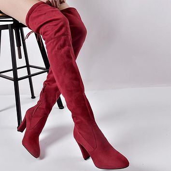 New Leather Women Over The Knee Boots Lace Up Sexy High Heels Woman Shoes Women Boots