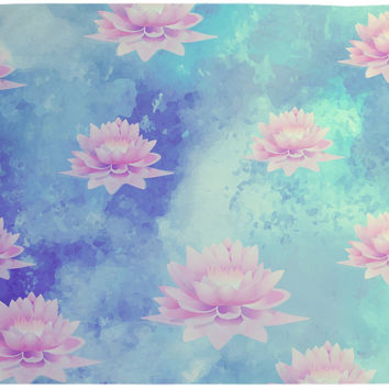 Lotus Tapestry Wall Hanging Blue and Soft Pink Bohemian Decor Neutral Colors