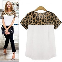 Amazon.com: Tp Sky Women's Leopard Casual Plus Size Short Sleeve Chiffon Blouse Shirt