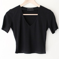 Knit V-neck Cutout Crop Top
