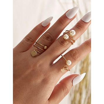 3pcs Clover & Faux Pearl Decor Rings Set