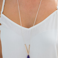 Simple Purple Stone Necklace in Silver