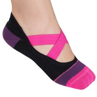 Lupo Heel N Toe No Slip Yoga Pilates Barre Socks - Women's, Size: One Size (Black Pink)
