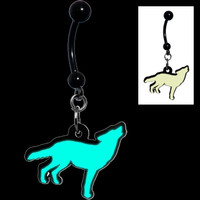 Glow in the Dark Howling Wolf Belly Ring | Body Candy Body Jewelry