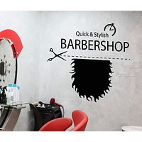 Vinyl Wall Decal Barbershop Signboard Hairstyle Beard For Men Stickers Unique Gift (1793ig)