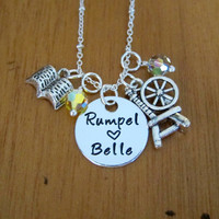 Once Upon A time Inspired Necklace. Rumpel and Belle. Once necklace. Silver colored.