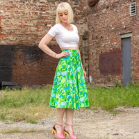 vintage lime green dress set / crop top and skirt set neon green dress 1960s dress small skirt and top set two piece outfit two piece dress