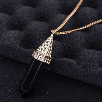 Jewelry Agate Bullet Sweater Chain Stone Necklace
