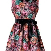 Floral Painting Dress S010472
