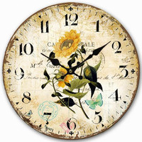 Retro Style Wall Clock Flower Sunflower Butterfly Home Decorative Wood 34CM