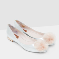 Pom-pom pointed flats - Silver Colour   Footwear   Ted Baker UK