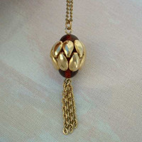 Artichoke or Pomegranate Pendant Necklace Red Vintage Jewelry