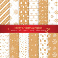 Christmas Digital Paper: Krafty Christmas Papers 2 Printable Designs Instant Download Scrapbooking Collection - Xmas Trees Stars Snowflakes