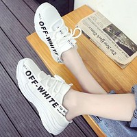 Off-white tide brand female mesh breathable muffin thick bottom half slippers sneakers