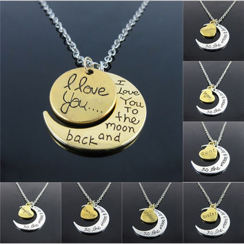 """Hot Fashion Silver White Tone """"I Love You To The Moon and Back"""" Couples Love Family Moon   Pendant  Necklace Jewelry Chain Choker = 1929918788"""