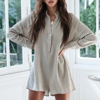 Fashion Casual Loose Short Jumpsuit Women Streetwear Long Sleeves Thin Shirt Rompers Female Chic Jumpsuit