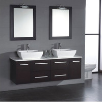 "Kokols 60"" Floating Wall Mount Double Sink Bathroom Vanity Set"