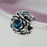 2016 New Crystal Beads Charm 9 Color Flower Diy Alloy Beads Fit Women Pandora Bracelets & Bangles Jewelry YW15497