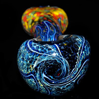 Dark Galaxy Frit Spoon Pipe - Deep Black Blue Space Colors with Bright Rasta Flat Mouthpiece and Electric Blue Designs