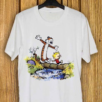 calvin and hobbes  Tshirt for men and women , Trand Tshirt now , color black,white,pink, 100% cotton