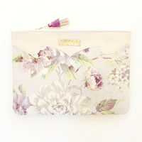 SUMMER 12 / Leather & Cotton floral clutch bag - Ready to Ship