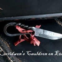 Medieval Athame, Wrought Iron Knife, Boline, Witches Cupboard, Witches Tool, Ritual Tool, Altar Tool,