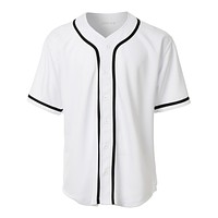 Mens Active Varsity Short Sleeve Button Down Baseball Jersey (CLEARANCE)