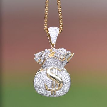 Money Bag Design Pendant $ Yellow Gold Tone Simulated Diamonds Steel Necklace