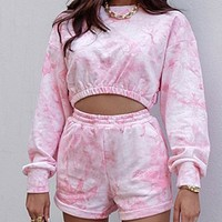 Women's new fashion tie-dye long-sleeved crop top and drawstring shorts