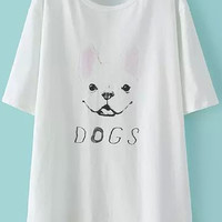 White Short Sleeve Dog Print Loose T-Shirt