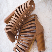 Shape of You Cage Cut Out Sandals (Camel)