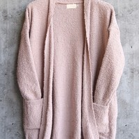 dreamers - pink boucle cozy open front cardigan