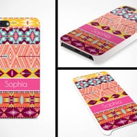iPhone 5 Cell Phone Case Tribal Trendy Hipster Aztec Pattern Apple Personalized Name Monogram Protective Black Plastic Hard Cover VM-1048