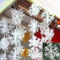 Christmas Tree Decorations Snowflakes 30pcs 6cm White Plastic Artificial Snow Christmas Decorations for Home Navidad 171122
