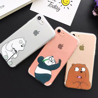 New China Cute Panda Case For iPhone 7 Case Cartoon Animal Bear Capa Back Cover Soft TPU Phone Cases For iPhone7 6 6S Plus Coque