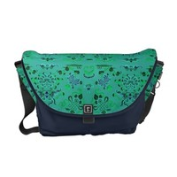 Pretty Green and Blue Floral Messenger Bag