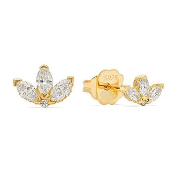 Crown Stone Stud Earrings
