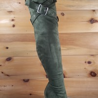 "Astra OTK High Heel Thigh Boots 4.5"" Stiletto Belt Strap Design Olive Green"