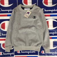 Retro Vintage Champion Embroidered Solid Unisex Pullover Sweater 4 Colors